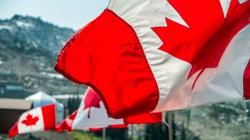 Canada flags winter sports