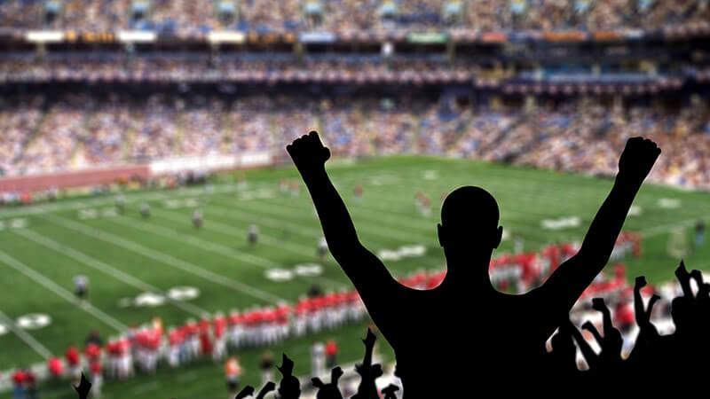 ラグビーの試合を観戦する観客