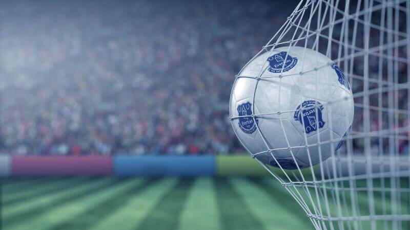 Everton ball goal back of net
