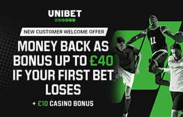 Unibet bonus up to £40 back if first bet loses